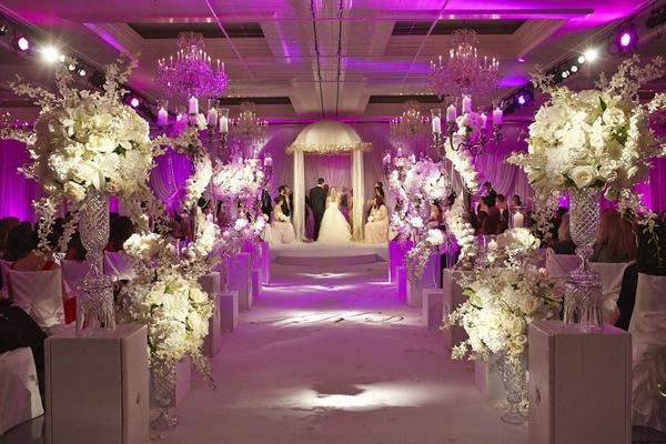 Glam Plum And Gray Wedding Decor